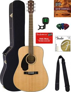 Fender CD-60S Solid Top Dreadnought Acoustic Guitar – Left Handed, Natural Bundle with Har ...