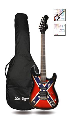 39″ Full Size ST Style Electric Guitar – Red and Blue Star Stripe Sticker Graphic De ...