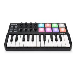 Vangoa Worlde Panda MINI II USB MIDI Keyboard 25 Keys with 8 BackLit RGB Drum Pad, 4 Sliders and ...