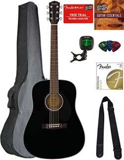 Fender CD-60S Dreadnought Acoustic Guitar – Black Bundle with Gig Bag, Tuner, Strap, Strin ...
