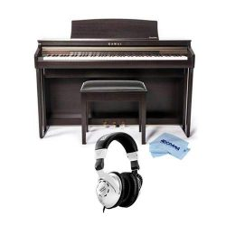 Kawai CA48 88-Key Grand Feel Compact Digital Piano with Bench, Rosewood – With Behringer H ...