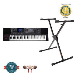 Roland E-A7 61 Key Expandable Arranger Keyboard with KS-10X Adjustable X-Style Keyboard Stand in ...