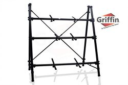 3 Tier Piano Keyboard Stand by Griffin|Triple A-Frame Standing Synthesizer Mixer Holder with Adj ...