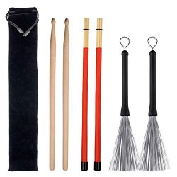Drum Sticks Set, 1 Pair Drum Wire Brushes Retractable Drum Stick Brush, 1 Pair Rods Drum Brushes ...