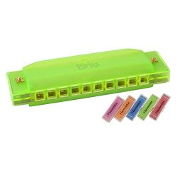 Kids Harmonica 10 – Hole Music Creation Pro Colorful Translucent Tuned Educational Mouth O ...