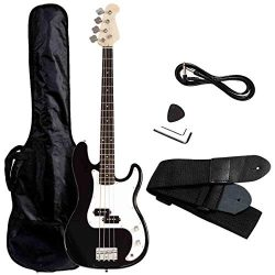 Safstar Electric Bass Guitar Full Size 4 Strings with Amp Cord Strap Bag Package for Starter Beg ...