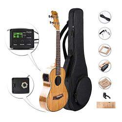 Caramel CT103 High Gloss Tenor Acoustic & Electric Ukulele with Aquila Strings, Padded Gig B ...