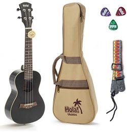Concert Ukulele Bundle, Deluxe Series by Hola! Music (Model HM-124BK+), Bundle Includes: 24 Inch ...