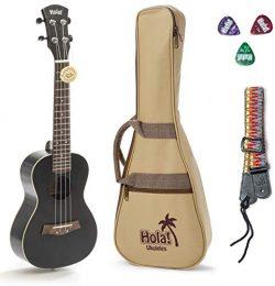 Concert Ukulele Bundle, Deluxe Series by Hola! Music (Model HM-124BK+), Bundle Includes: 24 Inch ...