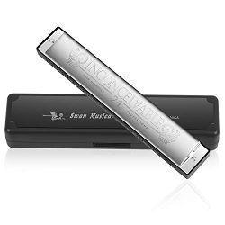 Harmonica Professional Harp Harmoc Key of C 24 Hole Polyphony Diatonic Mouth Organ with Case for ...