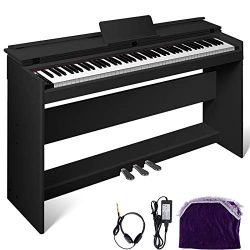 Happybuy White/Black Digital Piano 88-Key Electric Piano Keyboard w/Pedal Board Music Stand for  ...