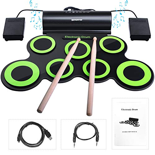 Electronic Drum Sets, BONROB Foldable Roll Up Drum Kit Built in Speaker With Drum Sticks, Foot P ...