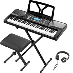 RIF6 Electric 61 Key Piano Keyboard – with Over Ear Headphones, Music Stand, Digital LCD D ...