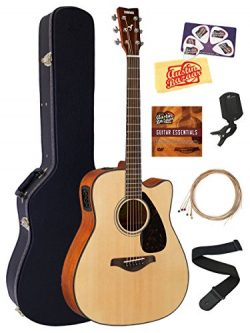 Yamaha FGX800C Solid Top Folk Acoustic-Electric Guitar – Natural Bundle with Hard Case, Tu ...