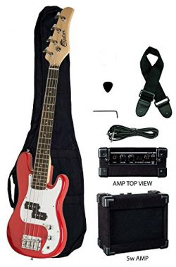Raptor 3/4 Size 38 Inch Kids Child 4 String Electric P Bass Package – RED with 5W Amp, Gig ...