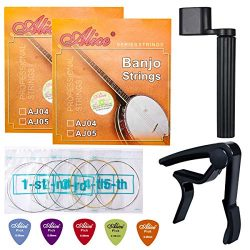 Banjo Strings, Yoklili 2 Sets of 5-String Plated Steel Banjo Strings Set, Light, 09-20, Bonus 5  ...