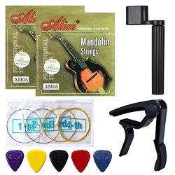 Mandolin Strings, Yoklili 2 Sets of Silver-Plated Copper Alloy Mandalin Strings, Medium, 11-40,  ...