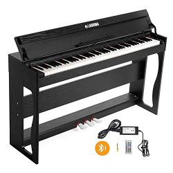 LAGRIMA 88 Key Weighted Digital Piano w/Bluetooth&MP3 Function, USB/MIDI/Headphone/Audio Out ...