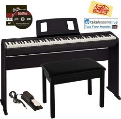 Roland FP-10 Digital Piano Bundle with Stand, Furniture Style Bench, Sustain Pedal, Online Lesso ...