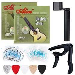 Ukulele Strings, Yoklili 2 Sets of Black and Clear Nylon Ukelele Strings with 5 Felt Picks, Stri ...