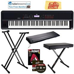 Korg KROSS 2 Synthesizer Workstation Bundle with Adjustable Bench, Stand, Dust Cover, Instructio ...