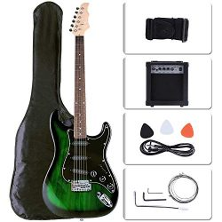LAGRIMA Full Size 39 inch Electric Guitar Beginner Kit with 15w Amp, Tuner, Strings, Picks, Shou ...