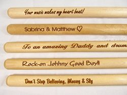 Personalized Custom Laser Engraved Pair Wooden Drumsticks – Drum Sticks Wood Tips, Gift fo ...