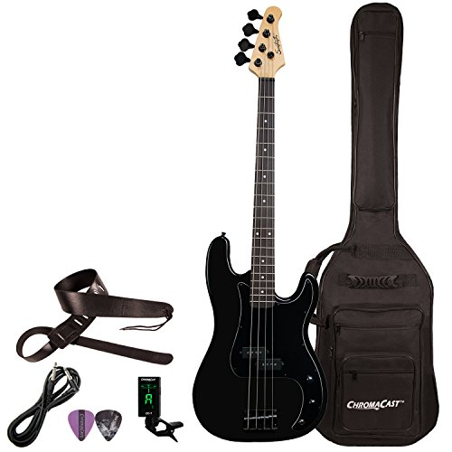 Sawtooth 4 String EP Series Electric Bass Guitar with Gig Bag & Accessories, Satin w/Black P ...