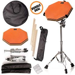 Practice Pad & Snare Stand Bundle – Drum Pad Double Sided with Drumsticks and Drum Sta ...
