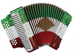 D'Luca Toro Button Accordion 31 12 Bass on GCF Key with Case and Straps, Red, White, Green ...