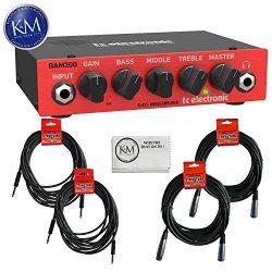TC Electronic BAM200 200 Watt Bass Amplifier Head + (2) Instrument Cables + (2) XLR Cables + K&a ...