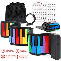 Best Choice Products Kids 49-Key Portable Bluetooth Flexible Roll-Up Piano Keyboard Musical Toy  ...