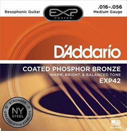 D'Addario EXP42 Coated Phosphor Bronze Acoustic Guitar Strings, Light, 16-56 – Offers a Warm, Br ...