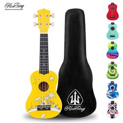 Honsing Kids Ukulele,Soprano Ukulele Beginner,Hawaii kids Guitar Uke Basswood 21 inches with Gig ...