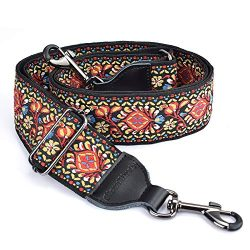 CLOUDMUSIC Banjo Strap Guitar Strap For Handbag Purse Jacquard Woven With Leather Ends And Metal ...