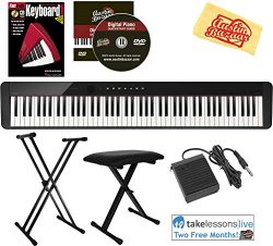 Casio Privia PX-S1000 88-Key Digital Piano – Black Bundle with Adjustable Stand, Bench, Su ...
