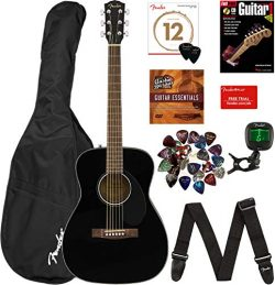 Fender CC-60S Concert Acoustic Guitar – Black Bundle with Gig Bag, Tuner, Strap, Strings,  ...