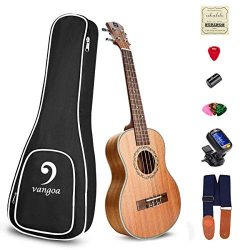 Soprano Ukulele Mahogany Acoustic 21in Ukulele for Beginners Bundle ukulele starter kit, by Vangoa