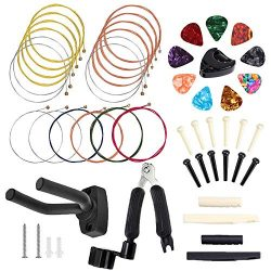 50 PCS Guitar Accessory Kit, Bosunny Acoustic Guitar Parts Replacement Kit, Guitar Strings, Guit ...