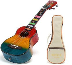 Balnna Hawaiian Concert Wooden Ukulele 23 inch Maple Daily Traditional Learn to Play,Color Strin ...