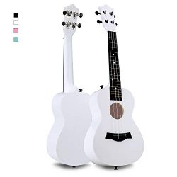 FUYXAN Concert Ukulele with Accessories Nylon Strings Strap, 23 Inch White Ukulele for Beginners ...