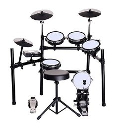 ZHRUNS Electronic Drum Set, Mesh Kit with Collapsible 3-Post Rack, Built-in Drum Coach with Play ...