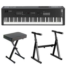 Yamaha MX88 88-Key Music Synthesizer Complete Bundle with Heavy Duty Z-Style Keyboard Stand and  ...
