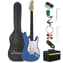 Donner DST-100T Full-Size 39 Inch Electric Guitar Tidepool with Amplifier, Bag, Capo, Strap, Str ...