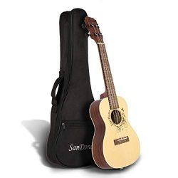 SANDONA Acoustic Electric Concert Ukulele EQ 24 Inch Kit eUKC-141 | Spruce Solid Wood | Under-Sa ...