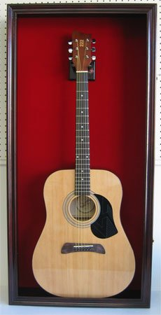 LARGE Acoustic Guitar Display Case Cabinet, Fit most Guitars, with Lock, Mahogany Finish (Red Ba ...