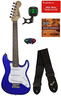 Squier by Fender Mini Strat Electric Guitar – Imperial Blue Bundle with Tuner, Strap, Pick ...