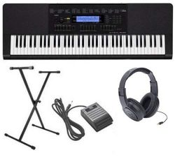 Casio WK-245 4 pc Ultra-Premium Keyboard Package With Headphones, Stand, Sustain Pedal and Power ...