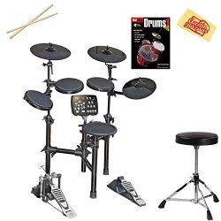 Vault HD005 8-Piece Electronic Drum Kit Bundle with Throne, Sticks, Instructional Book, and Aust ...
