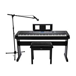 Yamaha DGX-660 88-Key Digital Grand Piano with ATR1200 Microphone, Mic Stand, Knox Flip Top Benc ...